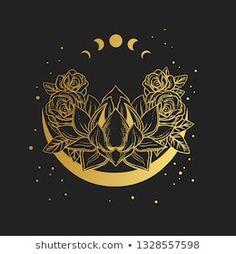 Golden lotus flower on black background. Vector hand drawn illustration Golden lotus flower on black background. Body Art Tattoos, Tattoo Drawings, Art Drawings, Inspiration Art, Art Inspo, Art Lotus, Alchemy Symbols, Moon Art, Tarot Decks