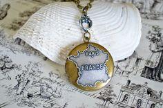 Paris France Locket Map Locket Bronze Locket by DebbieReneeVintage, $22.00