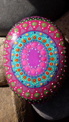 hand painted mandala, painted stone, zen meditation, gratitude, yoga, bohemian