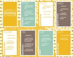 Lots of different printables for organizing, like weekly cleaning checklists, chore lists, address list, babysitter info...ect