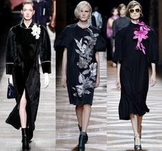 Flower fashion Spring 2014- NY, London, Milan and Paris Fashion Weeks–Far away, on some otherworldly tropical island, flowers are blooming deep into the night. From bold corsage-like accessories to painted or blurred digital prints, these flowers look best against midnight black.