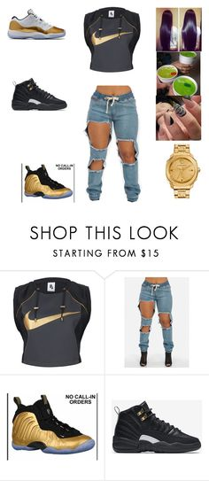 """""""bored"""" by aleisharodriguez ❤ liked on Polyvore featuring NIKE and Versace"""