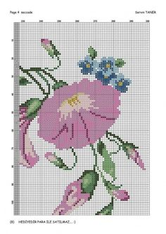This Pin was discovered by Hul Cross Stitch Borders, Cross Stitch Flowers, Cross Stitch Charts, Cross Stitching, Alpha Patterns, Beading Patterns, Cross Stitch Patterns, Image Chart, Silk Ribbon Embroidery