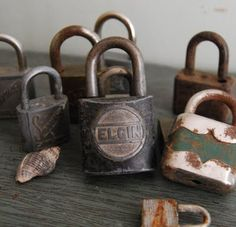 Vintage rusty pad lock collection...