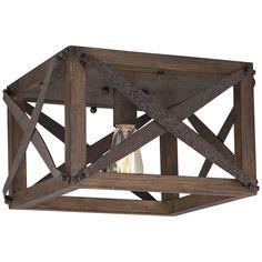 "Oaklyn 13"" Wide Industrial Rust Square Celing Light - Style # 6D569"