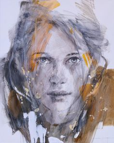 "This is  ""LOUISE "" by Christine Comyn -- mixed media on canvas 100 x 80 cm"