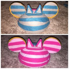 My DIY Double Sided Cheshire Cat Mickey Ear Hat 1951 version and 2010 version