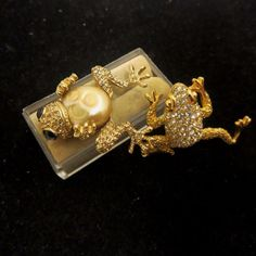 Lovely Vintage Rhinestone Jeweled Frog Brooch Pair Carolee And Other #carolee