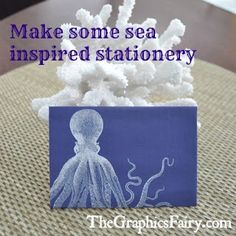 Seaside Printable Stationery - Octopus - The Graphics Fairy
