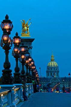 L'heure bleue, Paris - Pont Alexandre III at dusk. Photo by Larry Johnson Pont Paris, Louvre Paris, Beautiful Paris, Paris Love, Oh The Places You'll Go, Places To Travel, Places To Visit, Paris Travel, France Travel