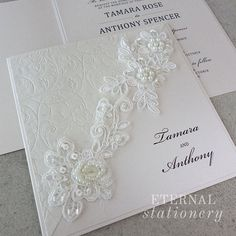 Lace motif Wedding Invitation Created by Eternal Stationery www.eternalstationery.com.au