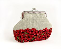Red #Cherries Linen Purse, #Fruit Berries Wallet Clasp Frame This handmade purse is made ​​from natural linen and cotton fabric with red cherries. An interesting mix of fabrics creates an illusion of a bag