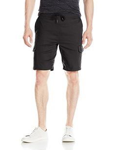 Brooklyn Athletics Men's Classic Fit Multi Pocket Twill Cargo Shorts, Black, Small