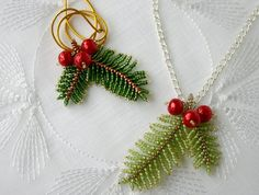 ChristmasPineBranch pendant beading TUTORIAL - Step by step tutorial for my ChristmasPineBranch pendant with hidden hook. Tutorial includes 4 page - Seed Bead Tutorials, Seed Bead Patterns, Beaded Jewelry Patterns, Beading Tutorials, Beading Patterns, Seed Bead Flowers, Beaded Flowers, Seed Beads, Seed Bead Necklace