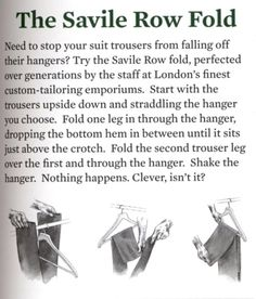 The Savile Row Fold. Make it so.