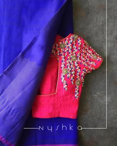 Nyshka is a French knotaholic.Cheers to her never ending addiction to French knots . Stunning pink color designer blouse with ahnd embroidery thread work. Blouse Back Neck Designs, Kids Blouse Designs, Simple Blouse Designs, Stylish Blouse Design, Pattu Saree Blouse Designs, Blouse Designs Silk, Bridal Blouse Designs, Blouse Patterns, Kurti Patterns