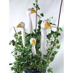 """Gartenstecker Gänsehals """"1 Keramik-Gänsehälse in weiß"""" das Original von Tangoo Garden Whimsy, Garden Art, Salt Dough, Air Dry Clay, Clay Art, Ceramic Pottery, Bird Houses, Projects To Try, Birds"""