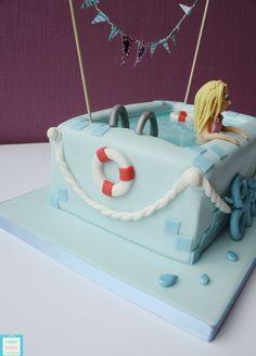Evies Swimming Pool Birthday cake  CakesBakesAndCookies.com