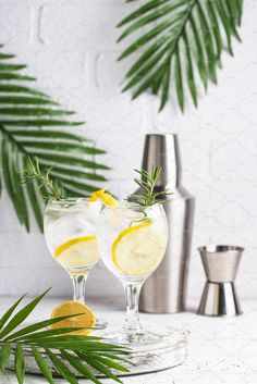 Gin tonic cocktail with ice and lemon. Liquor Drinks, Vodka Cocktails, Cocktail Drinks, Alcoholic Drinks, Cocktail Photography, Food Photography, Bebida Gin, Vodka Alcohol, Cocktail Pictures