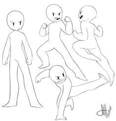 Drawing Tips Chibi Drawings Anime Poses Reference, Figure Drawing Reference, Anatomy Reference, Drawing Body Poses, Drawing Tips, Drawing Ideas, Sketch Drawing, Drawing Tutorials, Fighting Drawing