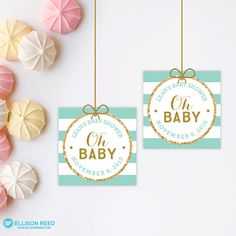 Mint and Gold Baby Shower  Favor Tags  Baby Shower by EllisonReed
