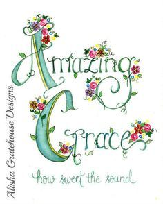 Amazing Grace, How Sweet the Sound. This hand-lettered watercolor art print is based on the dearly loved hymn, Amazing Grace, written Hymn Art, Scripture Art, Bible Art, Quote Art, Bible Verses Quotes, Bible Scriptures, Christian Art, Christian Quotes, Christian Signs