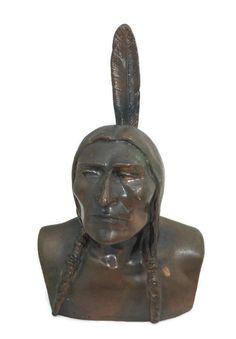 ◔❀ Vintage Shawmut Indian Bank - Shawmut Native American Bust Figurine, B... http://etsy.me/2d27jSo