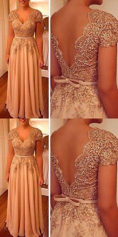 Charming Prom Dress, A Line V Neck Evening Dress, Beaded Women Formal Dress P1126 #promdress #promdresses #hiprom #prom #GraduationDress #2018 #PartyDress #champagneprom
