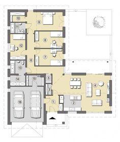 Projekt Ponza | Słoneczne Domy Family House Plans, New House Plans, L Shaped House Plans, One Storey House, Modern House Floor Plans, Model House Plan, Modern Villa Design, Apartment Floor Plans, Small Modern Home