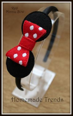 Mouse Headband-Polka Dot Mouse Bow-Mouse Hair di HomemadeTrends