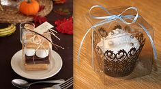 Perfect DIY Favor - Gather the supplies needed for a couple of smores and place them in our clear 3x3 box. Wrap with ribbon, twine, or burlap and add a personalized tag with a fun note to make the perfect presentation {smore image via shabbychicdreams.com}
