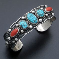 Darrell Cadman (Navajo) - Kingman Turquoise & Coral Scalloped Oxidized Sterling Silver Cuff Bracelet #33541 $690.00