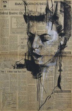 """pornography for plutocrats"", conte and chalk on newsprint/ Guy Denning, 2013 Portrait Art, Portraits, Charcoal Art, Charcoal Drawings, Newspaper Art, Ap Studio Art, A Level Art, Ap Art, Gcse Art"