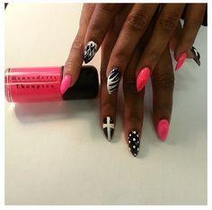 Neon, Black, White nails