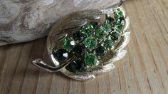 Vintage Gold Toned Green Rhinestone Leaf by CreativeWorkStudios
