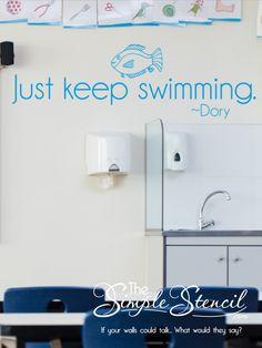 Just keep swimming. Vinyl Decor, Vinyl Wall Decals, School Signage, Fish Decal, Inspirational Wall Quotes, Directional Signage, Stencil Vinyl, School Displays, School Decorations
