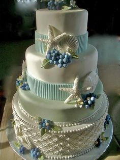 Gorgeous beach themed wedding cakes featuring, seashells, starfish and more in stunning delicate colors created by Let Them Eat Cake - Cust. Wedding Cake Pops, Pretty Wedding Cakes, Wedding Cake Designs, Pretty Cakes, Wedding Unique, Blue Wedding, Elegant Wedding, Summer Wedding, Wedding Rings
