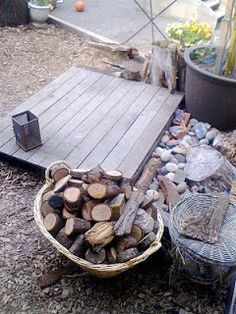 small wooden 'stages' in the backyard, image via Teacher Tom: The Cookie Tree Gets Her First Workout