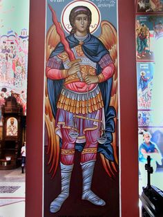 Michael the Archangel, Chief of the Heavenly Hosts. (Located at the New Gracanica Serbian Orthodox Church in Graylake, Illinois)/ Our church is gorgeous, everyone should see it. Religious Icons, Religious Art, Catholic Archangels, Orthodox Catholic, Archangel Gabriel, Art Icon, Orthodox Icons, Serbian, Sacred Art