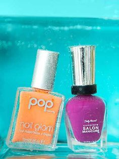 Popsicle Shades    POP Beauty Nail Glam in Tangerine Taste, $10; soap.com    Sally Hansen Complete Salon Manicure in Purple Posy, $7.99; ulta.com #nails #nailpolish