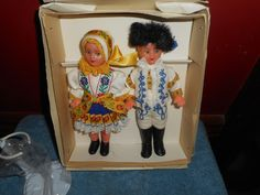 """YOU GET THE 2 DOLLS (MALE & FEMALE) PICTURED AND THE ORIGINAL PANENKY BOX, ALONG WITH A NEW 3 1/2"""" METAL DOLL STAND THAT IS NOT ORIGINALLY PART OF THIS SET BUT IS A THROW IN. DOLLS ARE RUBBER AND HARD PLASTIC. 