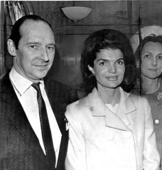 Lord Harlech (David Ormsby-Gore) and and Jackie Kennedy and Lady Harlech on board the Quee...