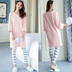 8a410cb174 Womens Pajamas Sets Long sleeve suit Summer Thin Cartoon Print Cute Sleepwear  Girl Pijamas Mujer Leisure Nightgown Nightwear
