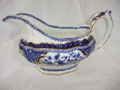 Booths  Victoria china gravy/sauce boat, cobalt blue with gold decoration