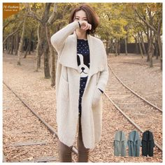 Korean Fashion Lapel Match Color Sweater Coat