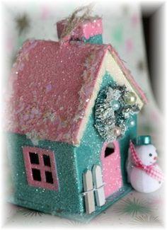 Handmade, vintage style, Christmas putz house