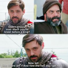 """""""Didn't anyone ever teach you to keel before a King?"""" - King Arthur and Leroy #OnceUponATime"""