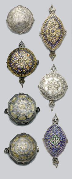 Persia | Group of 7 miniature amulets; silver, silver gilt, niello and enamel. 5.5 cm max diam | ca. 19th century | 2'160£ ~ sold (Oct '07)