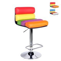 Sgabello Sale Giochi Pub e Birrerie Colorato in Similpelle Design LONG BEACH  Scegli il colore: Variante 1