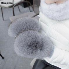 #DealOfTheDay #BestPrice 2017 new Women Fashion Brand New Genuine Woollen Fox Fur Covered Winter Gloves Mittens